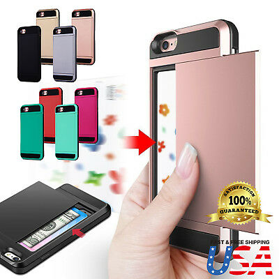 Shockproof Wallet Credit Card Holder Case Cover Fits Apple iPhone 8 7 6s Plus
