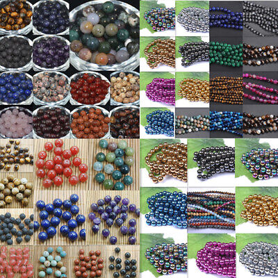 Wholesale Bulk Lots Natural Gemstone Round Spacer Loose Beads 4mm 6mm 8mm 10mm