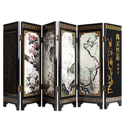 Chinese Traditional Small Wooden Folding Screen Room Dividers Table Art Screens
