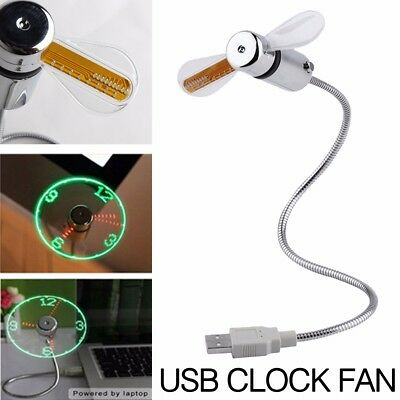 USB Computer Flexible Table/Desk OFFICE FAN LED Clock Adjustable Time Fan