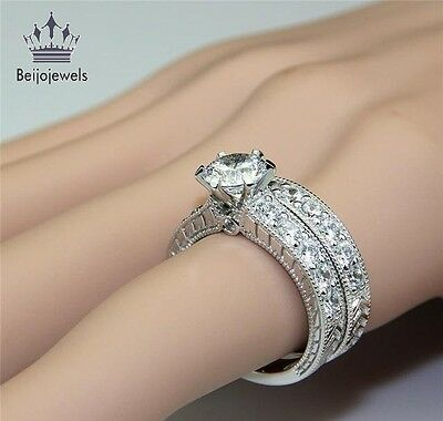 14k White Gold Sterling Silver Round Diamond Cut Engagement Wedding Ring Set