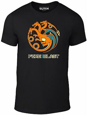 Mens Fire and Blast T-Shirt - Pokemon Game of HBO TV Movie Film Thrones