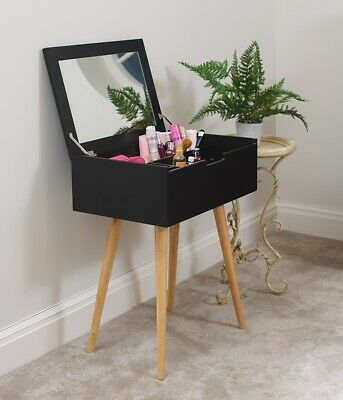 Dressing Table with Mirror Black Hidden Compartments Bedroom Makeup Jewelry