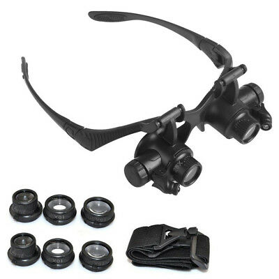 8 Lens Magnifier Magnifying Eye Glass Loupe Watch Jeweler Repair With LED Light