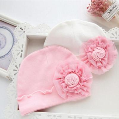 Newborn Baby Girl Sweet Hat Infant Big Flower Soft Cotton Hospital Cap Beanie CB
