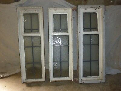 VINTAGE WINDOWS - Three 1950's CRITTALL-LEADED-FROSTED.