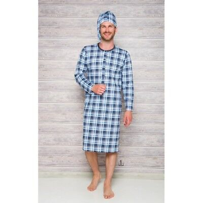 Mens Night Shirt Cap Set Nightshirt Nightwear Sleepwear Cotton L XL 2XL