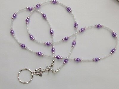 Handmade Beaded Spectacle / Glasses Chain Holder / Necklace. Purple White