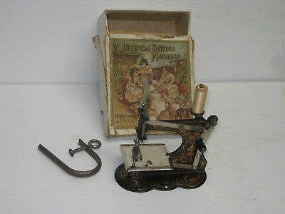 Antique Front Hand Wheel Crank German Made Toy Sewing Machine With Original Box