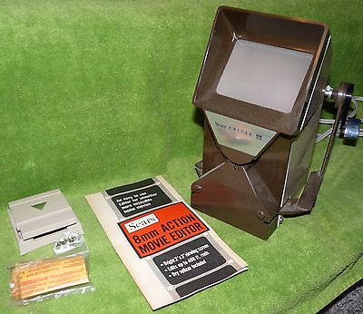 Sears 8mm Action Movie Editor Light Up No. 39388 Splicer, Tapes