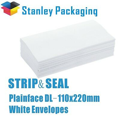 DL 110 x 220mm Plain Face Peel & Seal Envelope 80gsm Business Envelopes