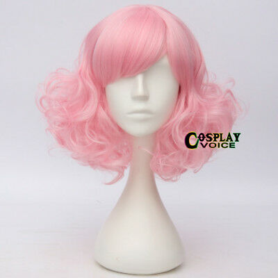 Fashion Lolita 35CM Medium Curly Pink Hair Women Cosplay Wig Heat Resistant