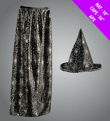 Adults Spider Web Hat and Cape Set Witch Unisex Halloween Fancy Dress Costume