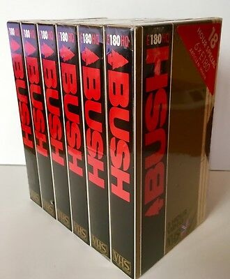 6 X BUSH Blank Sealed VHS Video Cassette Tapes E-180 HQ 3 Hour New Pack Sealed