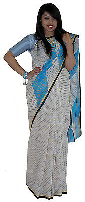 Sky Blue Chequered Pattern Tangail Saree (TG2009)