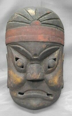 Antique old vintage hand carved wooden Asian mask Japan