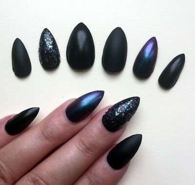 Hand Painted False Nails STILETTO (Or Any) Black Purple Matte & Gloss Chameleon