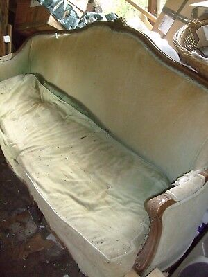 Lovely shape french antique showframe sofa for refurbishment and recovering 2.2m