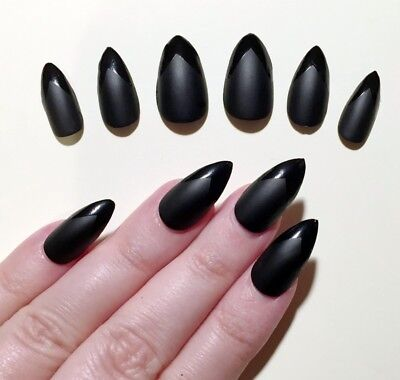 Hand Painted False Nails STILETTO (Or Any) Matte and Gloss Black Pointed UK