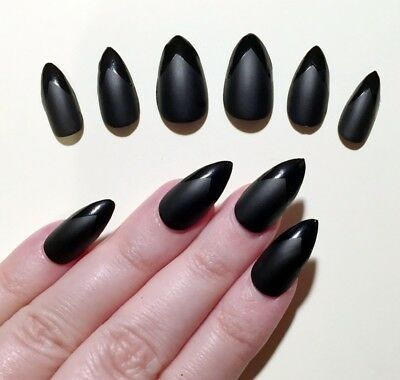 Hand Painted False Nails STILETTO (Or Any) Witch Claws HALLOWEEN Black Pointed