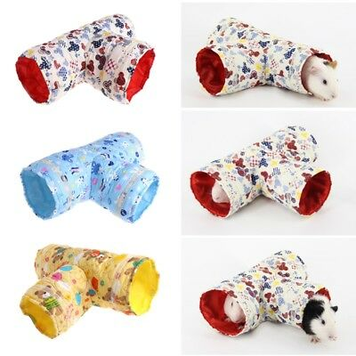 Hamster Guinea Pig Toy Cotton 3 Way Tunnel Small Pet Cartoon Pet Tubes Bed Nest