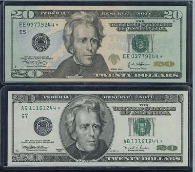 SET OF 10 $1, $2 and $20 STAR Notes LOW 4-DIGIT SERIAL NUMBERS ENDING '244' GEM!