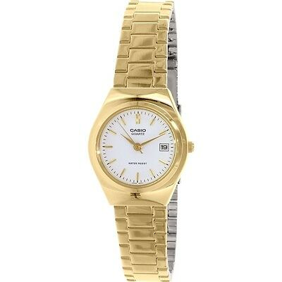 Casio LTP1170N-7A Ladies Stainless Steel Gold Tone Casual Dress Watch White Dial