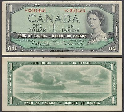 Canada 1 Dollar 1954 (1961-72) Banknote (VF) Condition QEII KM #74b