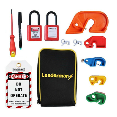 Leaderman LOM-K2 Lock out/ Lockoff 27 piece MCB, Tag and Padlock Kit w/ Case