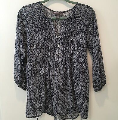 Pea In The Pod Maternity Blouse Top blue & white print size Medium