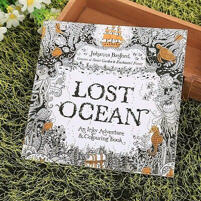 Children Adult English Lost Ocean Drawing Relax Painting Coloring Books