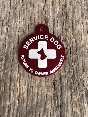 Large Personalized Aluminum Service Dog Pet ID Dog and Cross Tag (READ LISTING()