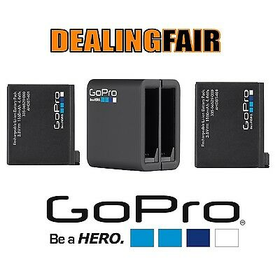 GoPro 1Battery + Dual Charger Pack for Hero4 Black & Silver Genuine bulk NEW
