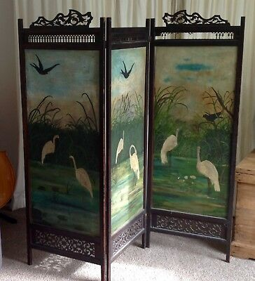 Antique Georgian / Victorian Painted dressing Screen.