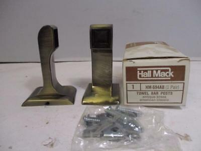 Hall Mack 1 Pair of Antique Brass Towel Bar Posts American Classic HM-694AB