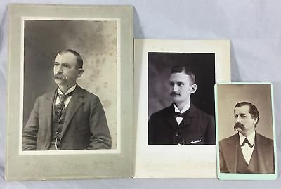 Vintage Old Antique Cabinet Photos 3 Men w/ Mustaches 1800s CT Fashion