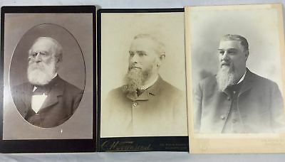 Vintage Old Antique Cabinet Photos 3 Men w/ Beards 1800s CT Fashion