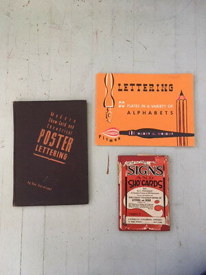 Three antique lettering books, Poster Lettering, Signs & Sho Cards - Typography