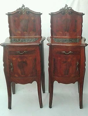 Antique PAIR French Louis XVI Nightstand Marble Top & Inlaid Bronze inserts 1900