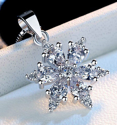 Sterling Silver Cubic Zirconia Crystal Snowflake Pendant Necklace Chain Gift Box