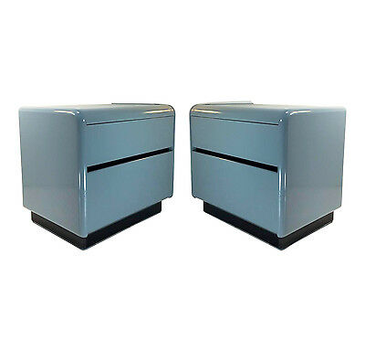 Vintage Pair of Grey Lacquered Nightstands, Mid-century Nightstands