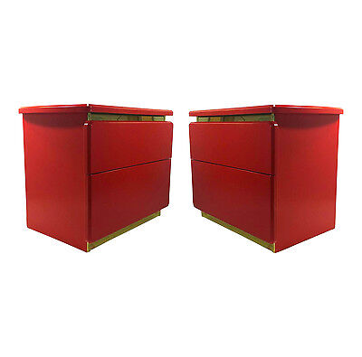 Pair of Mid Century Coral Red Lacquered Nightstands