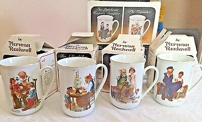 Vintage Norman Rockwell Coffee Cups Mugs Set of 4 Museum Collection