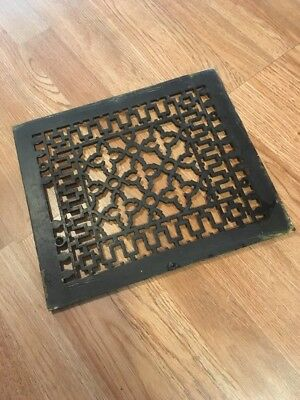 Antique Ornate Cast Iron Heating Heater Grate 12x14 Original