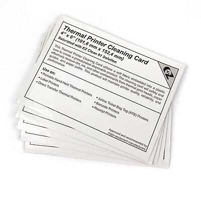"5 PACK!!! Thermal Printer Cleaning Card(s) 4""x6"" (102mm) ZEBRA 500 Printers"