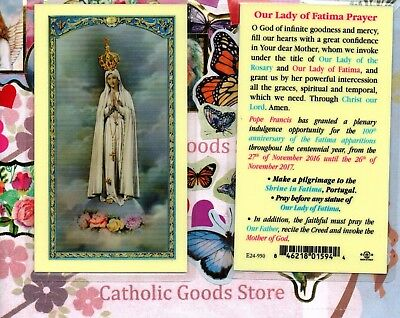 Our Lady of Fatima  Prayer (Anniversary) - Laminated Holy Card