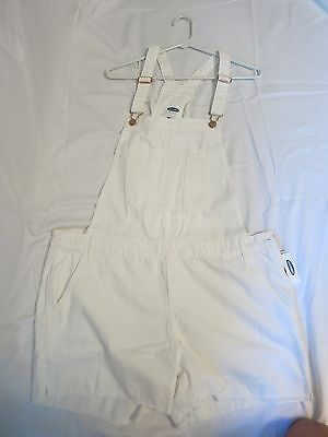 Brand New! White Old Navy Short Overalls, Size L