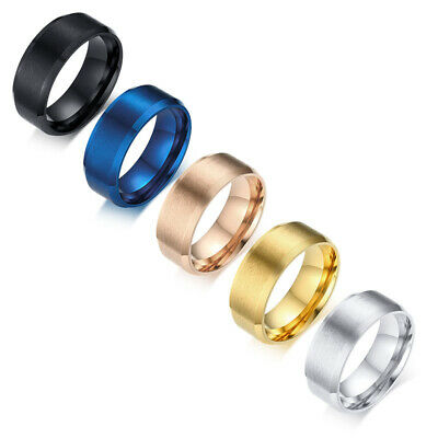 8mm Stainless Steel Ring Womens Men's Band Silver/Gold/Black/Rose Gold Size 5-15