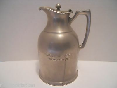 SAGAMORE HOTEL ROCHESTER NY Advertising Pitcher ~ Stanley Insulating Co Rare Old