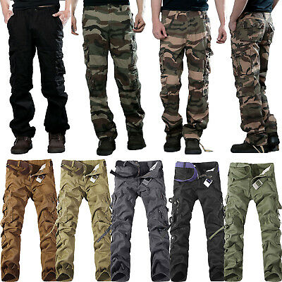 Men Combat Cargo Pants Military Camouflage Camo Tactical Work ARMY Long Trousers
